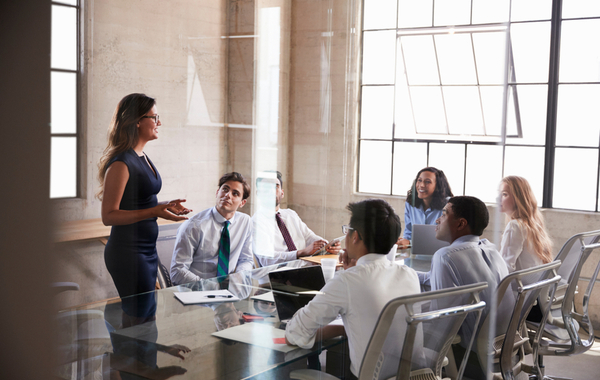 Woman leading the meeting of the team