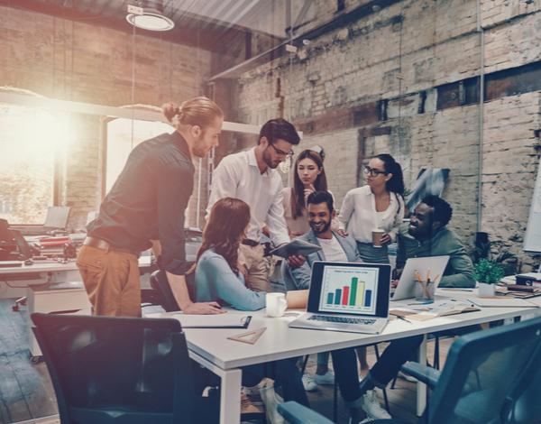 Team having a meeting inside a modern office