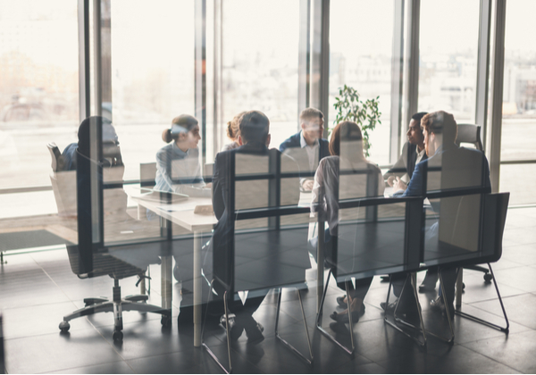Office members having a meeting inside the
